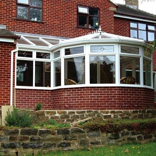 A P-shaped conservatory roof is a composite of a square and Victorian conservatory
