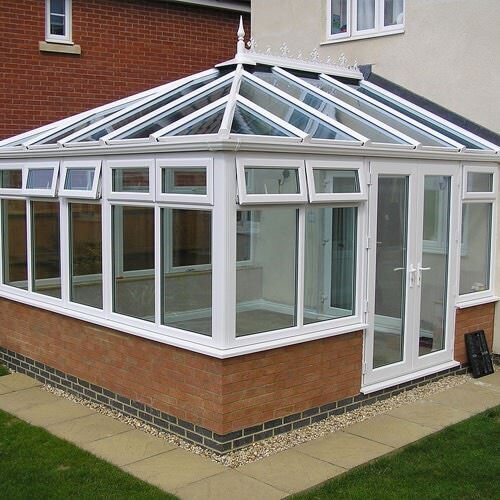 The Edwardian conservatory roof is a variation of the double hip style