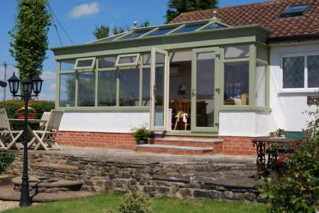 Green timber conservatory